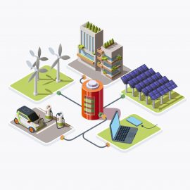 Isometric electric car, smartphone, laptop and city building connected to battery charging with energy produced by wind turbines and solar panels. Alternative energy concept, 3d vector illustration.